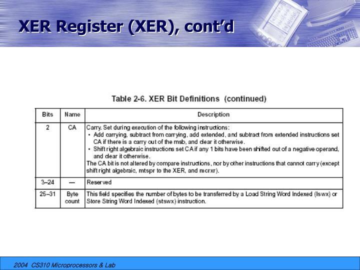 XER Register (XER), cont'd