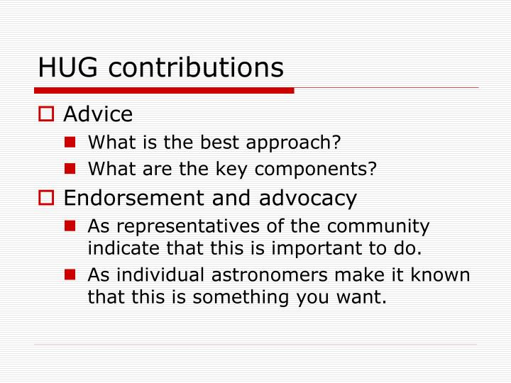 HUG contributions