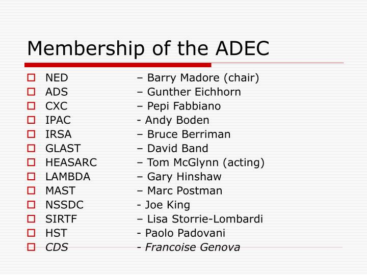 Membership of the ADEC
