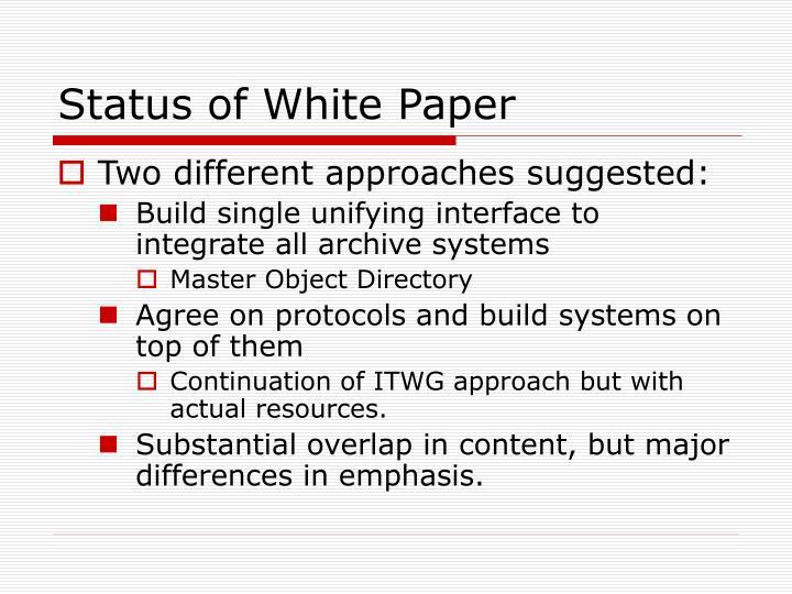 Status of White Paper