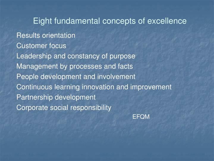 Eight fundamental concepts of excellence