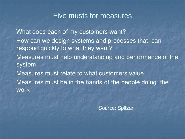 Five musts for measures