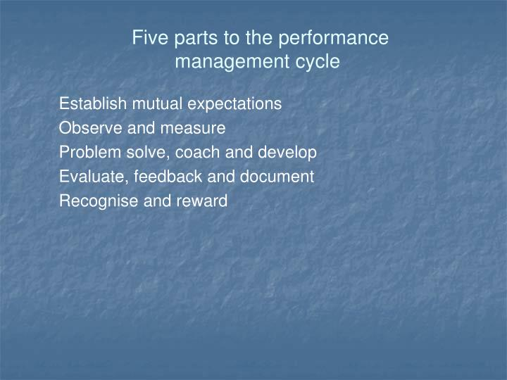 Five parts to the performance