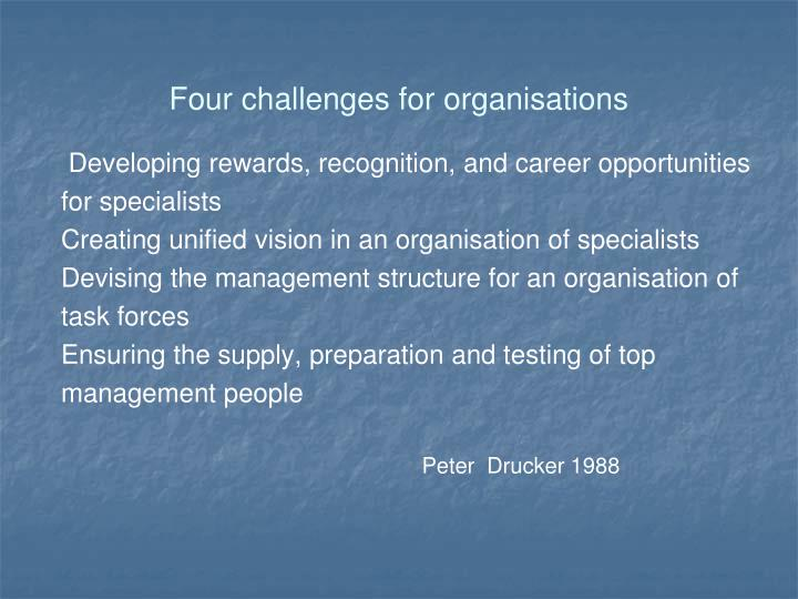 Four challenges for organisations