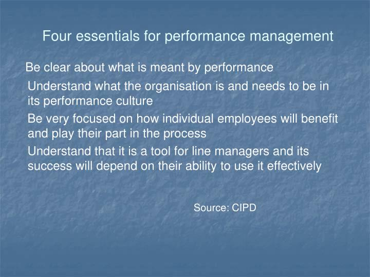 Four essentials for performance management