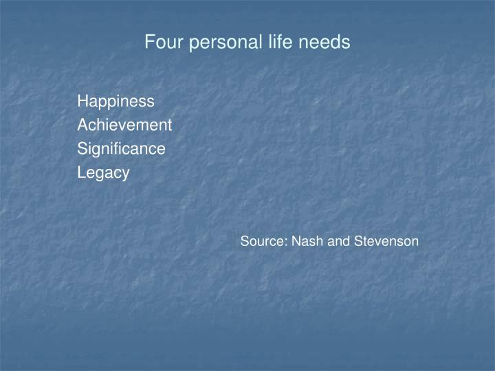 Four personal life needs