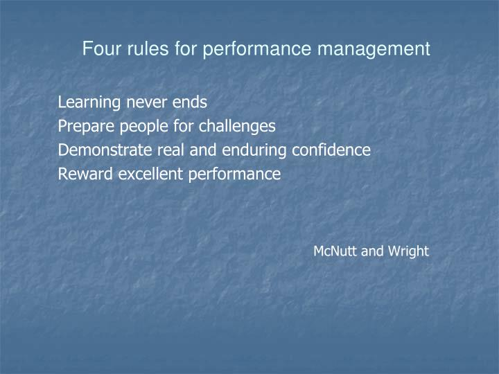 Four rules for performance management