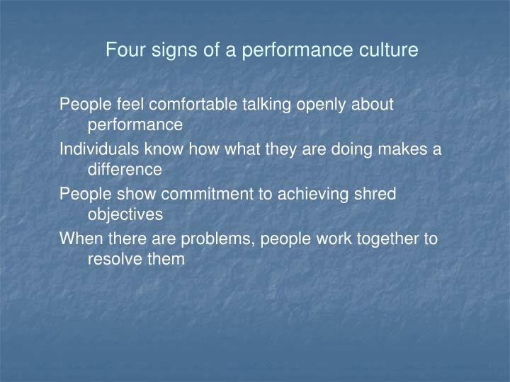 Four signs of a performance culture