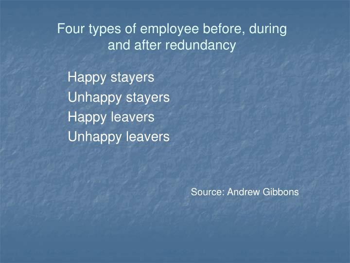 Four types of employee before, during and after redundancy