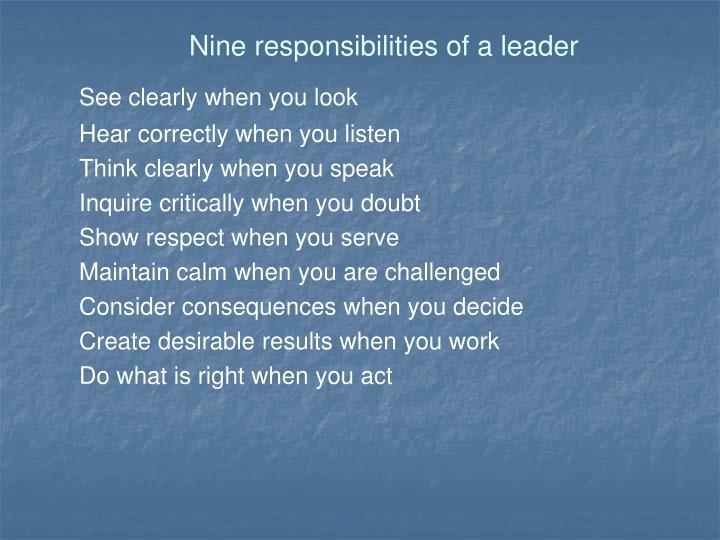 Nine responsibilities of a leader