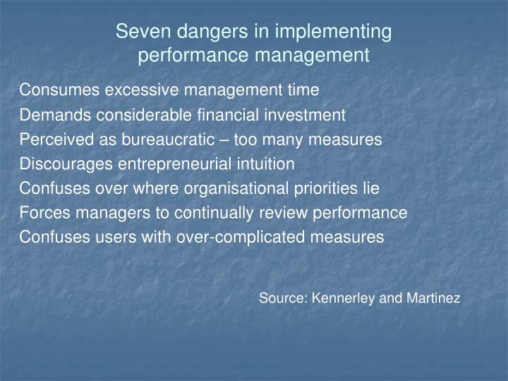 Seven dangers in implementing performance management