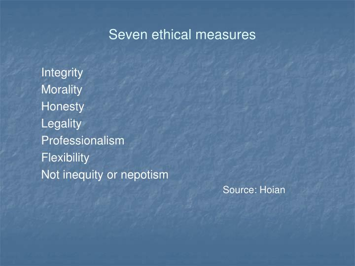 Seven ethical measures