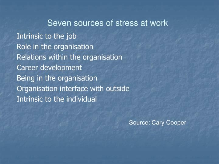 Seven sources of stress at work