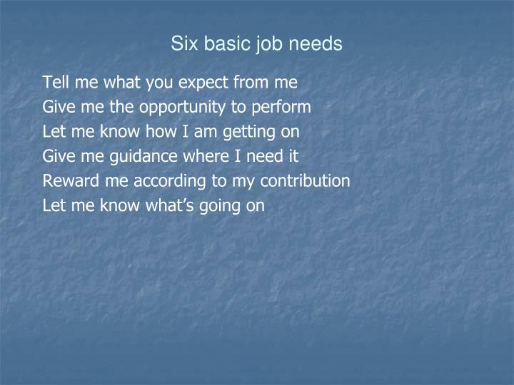 Six basic job needs