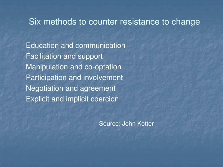 Six methods to counter resistance to change