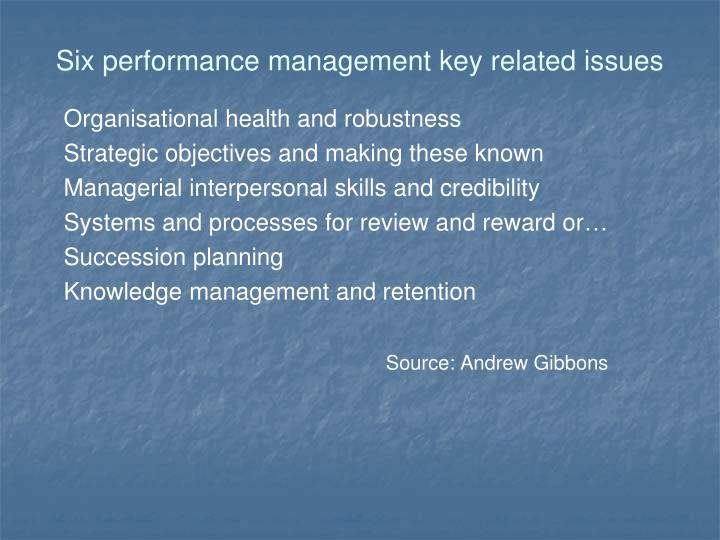 Six performance management key related issues