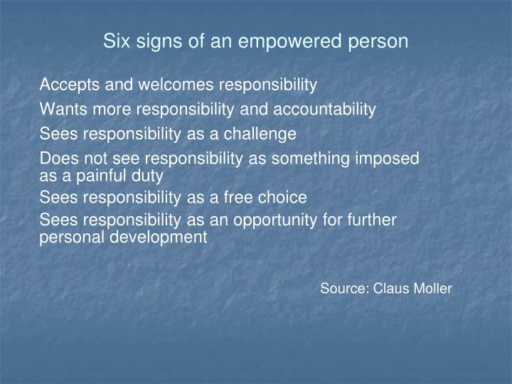 Six signs of an empowered person