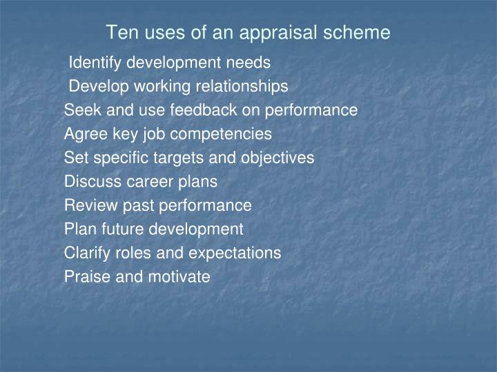 Ten uses of an appraisal scheme