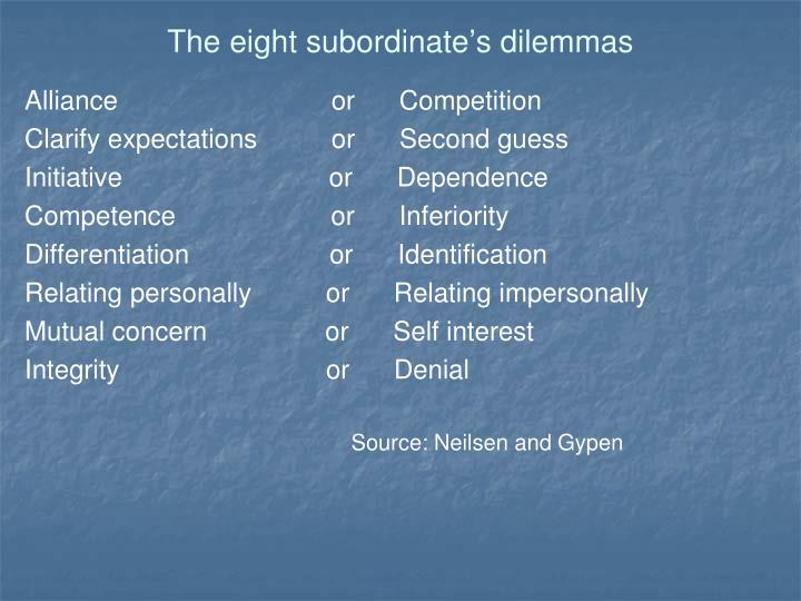 The eight subordinate's dilemmas