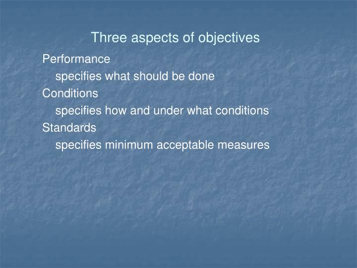 Three aspects of objectives