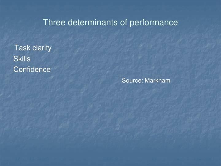 Three determinants of performance