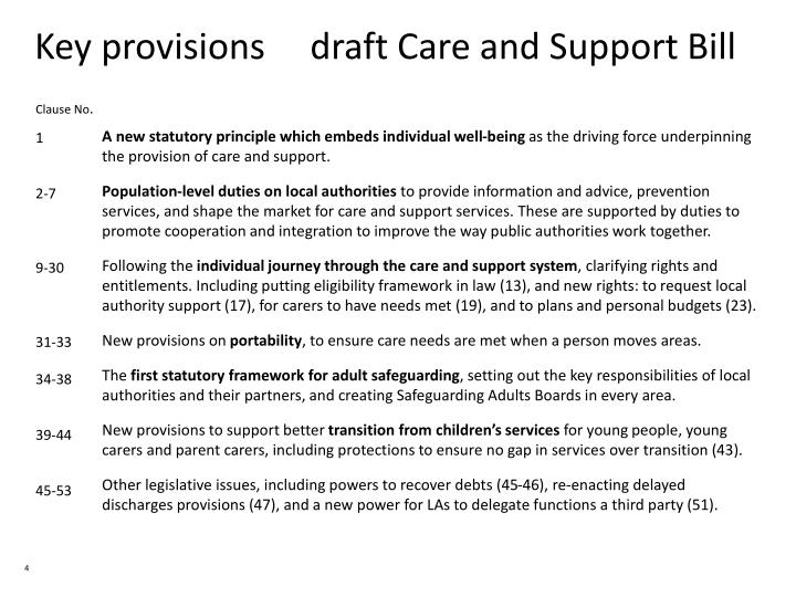 Key provisions     draft Care and Support Bill