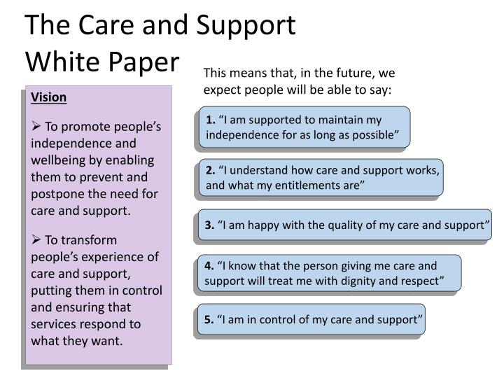 The care and support white paper