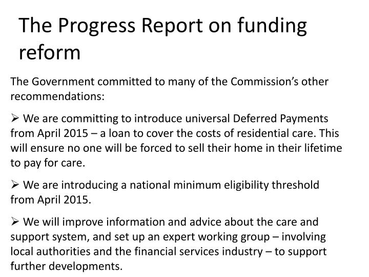 The Progress Report on funding reform