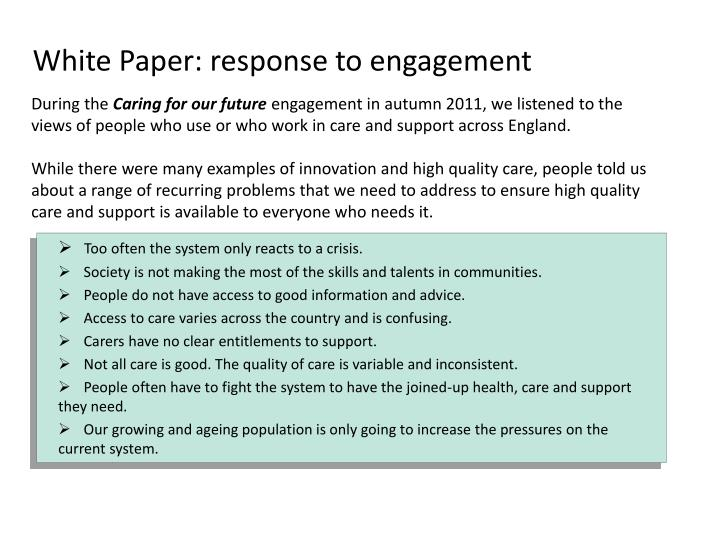 White paper response to engagement