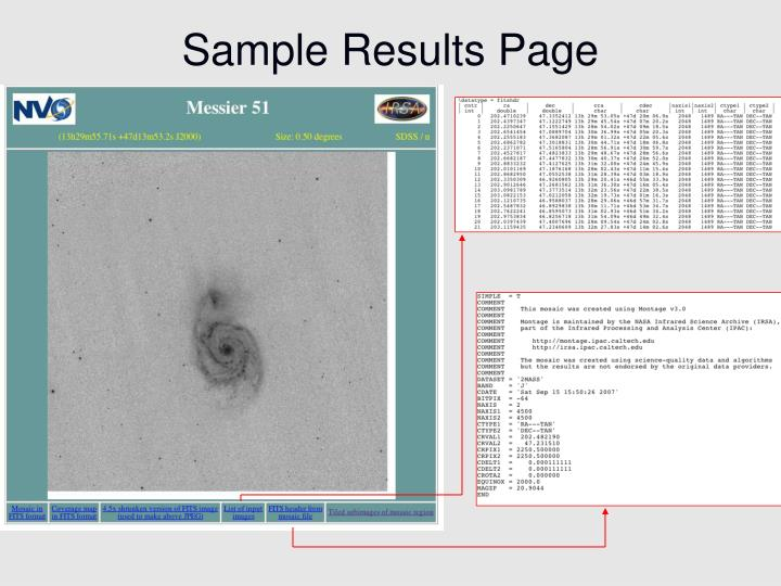 Sample Results Page