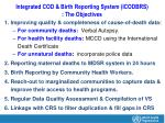 integrated cod birth reporting system icodbrs the objectives