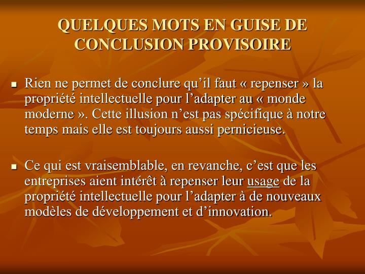 QUELQUES MOTS EN GUISE DE CONCLUSION PROVISOIRE