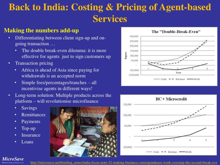 Back to India: Costing & Pricing of Agent-based Services