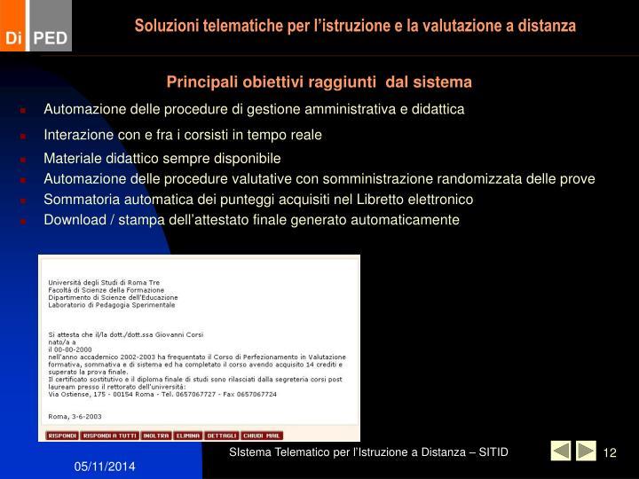 Soluzioni telematiche per l'istruzione e la valutazione a distanza