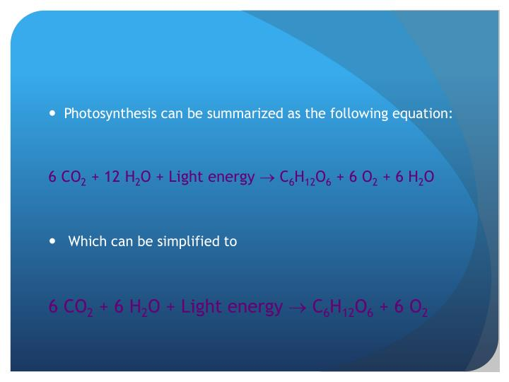 Photosynthesis can be summarized as the following equation
