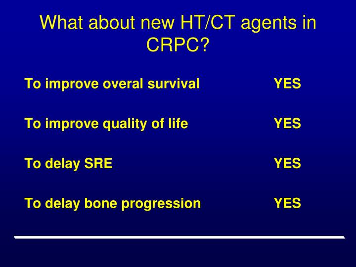 What about new HT/CT agents in CRPC?