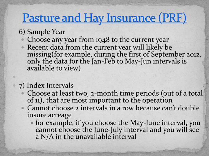 Pasture and Hay Insurance (PRF)