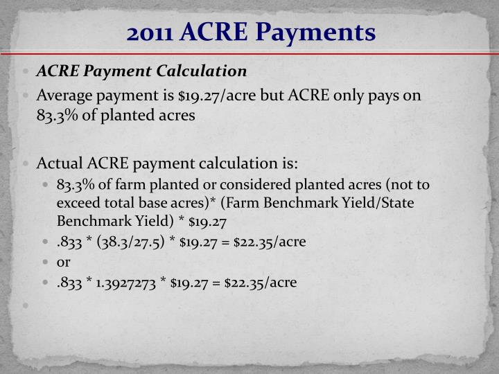 2011 ACRE Payments