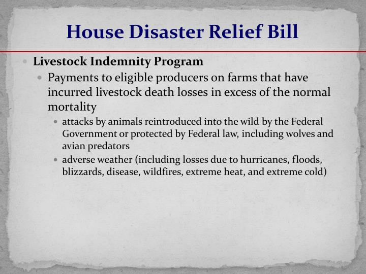 House Disaster Relief Bill