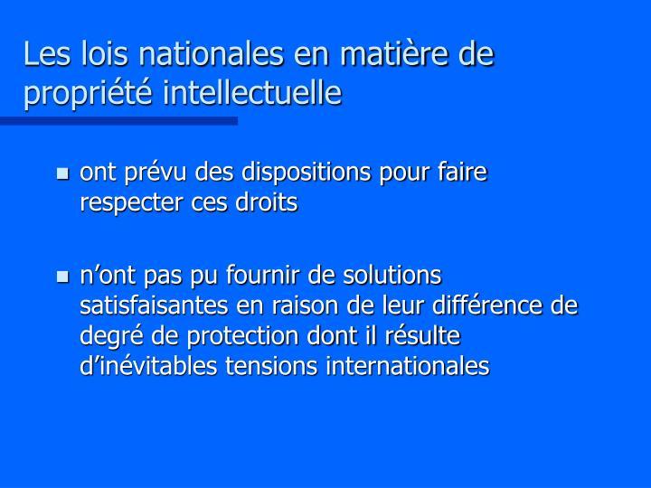 Les lois nationales en matière de propriété intellectuelle