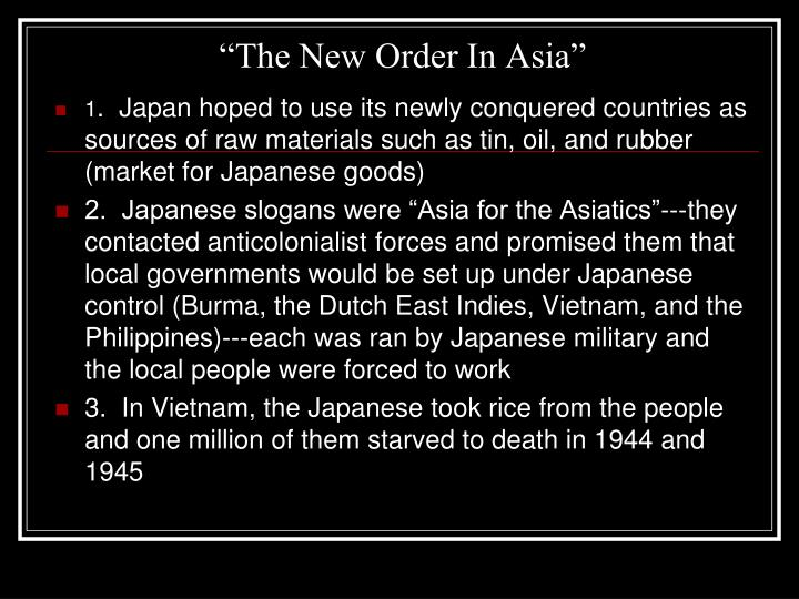"""The New Order In Asia"""