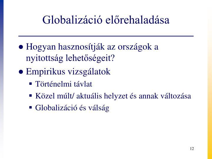 Globalizáció előrehaladása