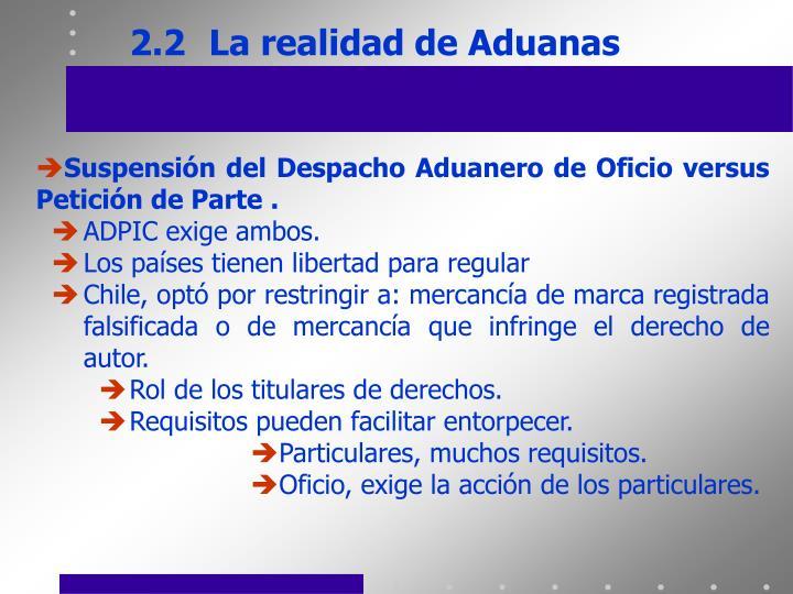 2.2La realidad de Aduanas