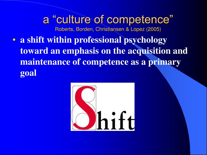 "a ""culture of competence"""