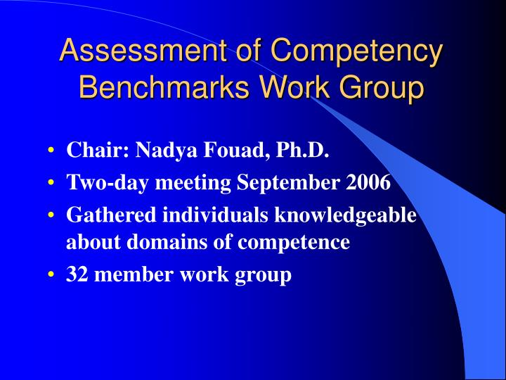 Assessment of Competency Benchmarks Work Group