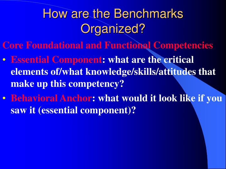 How are the Benchmarks Organized?