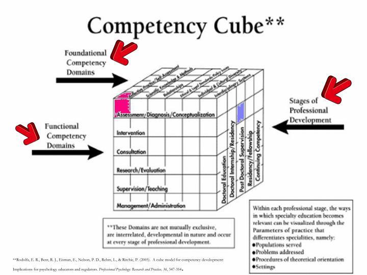**Rodolfa, E. R., Bent, R. J., Eisman, E., Nelson, P. D., Rehm, L., & Ritchie, P. (2005).  A cube model for competency development: Implications for psychology educators and regulators.