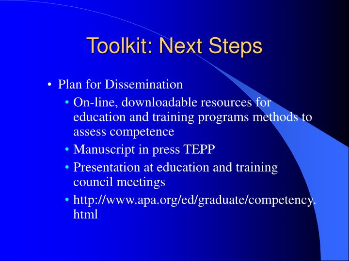 Toolkit: Next Steps