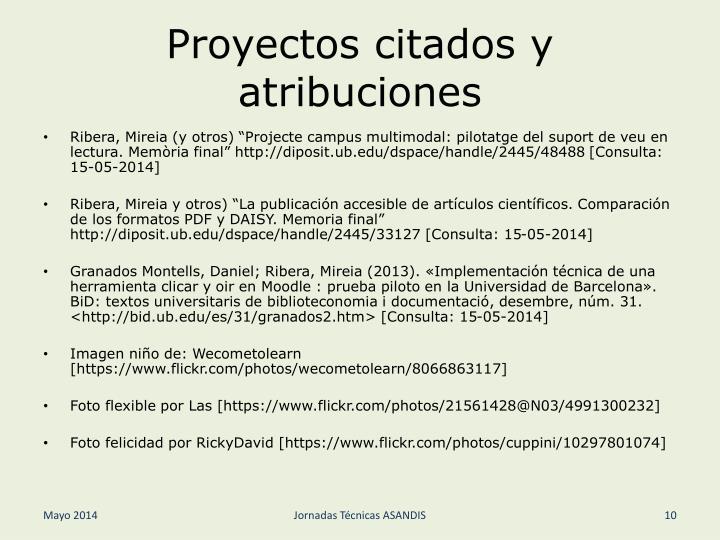 Proyectos citados y atribuciones
