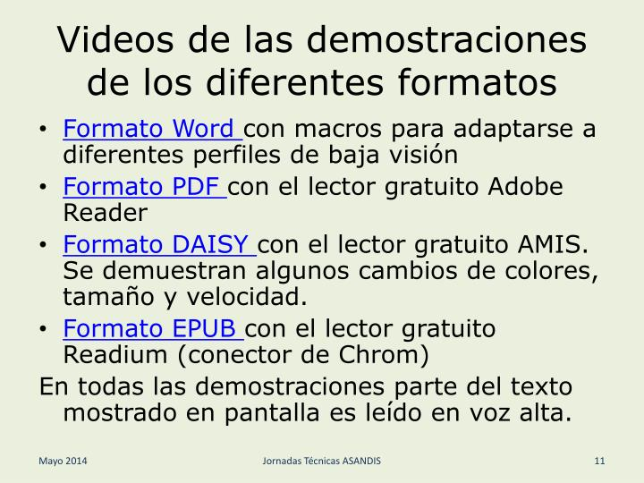 Videos de las demostraciones de los diferentes formatos